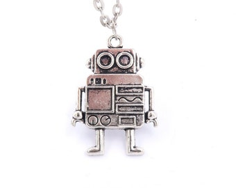 Robot necklace silver