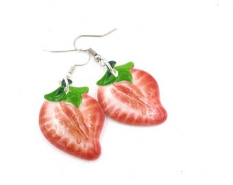 Strawberry earrings Silver earrings