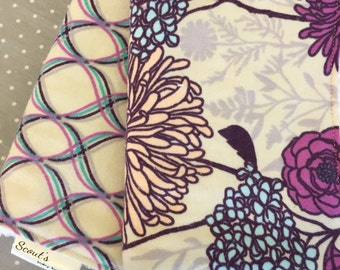 Baby Burp Cloths - Burp Rags - Baby Shower Gift -  Set of Two - Purple Floral