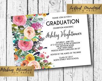 Floral graduation Invitation, Instant download, editable graduation,editable invitation,Floral Invitation, birthday, DIY, Flower Invite, SFC