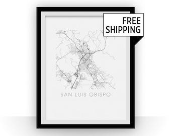 San Luis Obispo Map Black and White Print - california Black and White Map Print