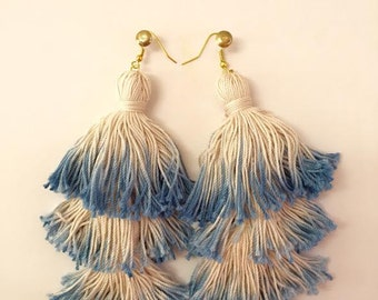The Shimmy Layered Cotton Tassel Earrings (multiple colors)