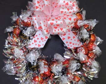 Red Truffles Milk Chocolate Candy Wreath Gourmet Edible Birthday Gift