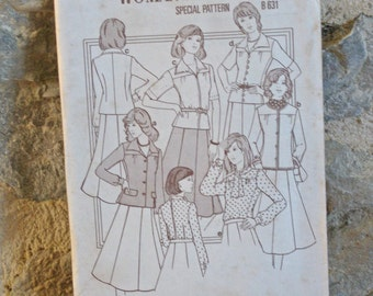 1970s sewing pattern for skirt blouse and jacket UK size18 large size from Woman's Weekly magazine B631 with cuttings