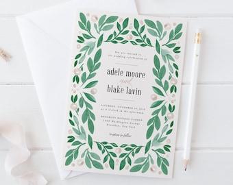 Wedding Invitation Set, Printable Wedding Invites, Natural Greenery Wedding Invitations,Watercolor Green Wreath,Painted Leaves,Summer Garden