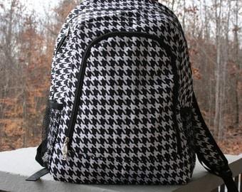 Monogrammed Houndstooth Personalized Bookbag