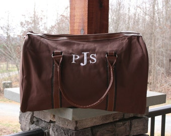 Monogrammed Mens Duffel Bag Personalized Brown Weekender Bag