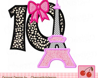 Eiffel Tower Number 10, Birthday number 10 embroiderry applique- for 4x4 5x5 6x6 inch