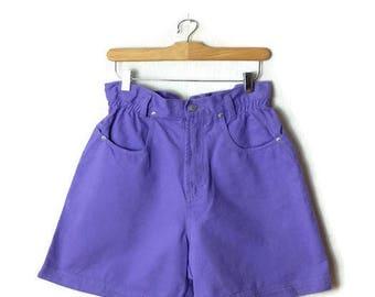 Vintage Jordache Purple High Waist  Denim Flare Shorts from 90's/W26-30*