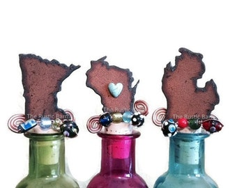 MINNESOTA WISCONSIN or MICHIGAN Rusty Rustic Rusted Metal Decorative Wine Bottle Cork Stopper Topper