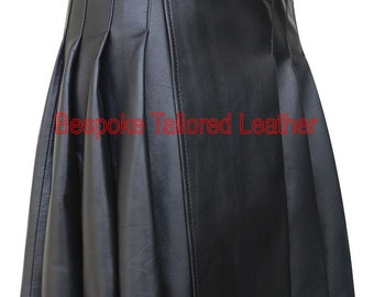 Leather Kilt with Buckle Knee Length -  in  Black BKLN001