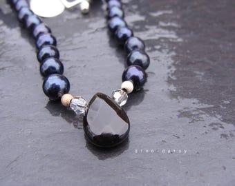 SALE Swarovski Crystal, Onyx & Swarovski Pearl Necklace