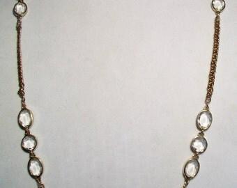 Vintage Bezel Set Glass Gem Necklace Costume Jewelry Gold Tone