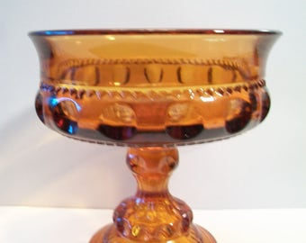 Vintage Indiana Glass Kings Crown Candy Dish Amber Compote