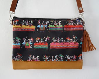 Mexican Skeleton Fiesta Black Handbag - Candy Skull Bag Clutch Horror Day of the Dead Brown
