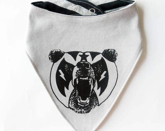 Reversible Mexican Wrestler Bear Baby Bib - Unisex Stripes Alternative Anchor Wrestling Tattoo Boys Dribble Cloth