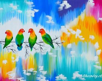 "lovebirds, love birds, bright paintings, with birds, on canvas, canvas art, bird paintings, parrots, paintings of birds, modern art, 36""x24"""