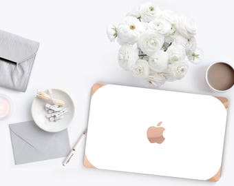 Platinum Edition Elegant White and Rose Gold Detailing Hybrid Hard Case for Apple Mac Air & Mac Pro Retina, Macbook 12""