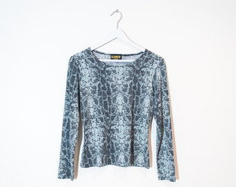 on sale - blue & grey fitted snake print top / 90s stretchy long sleeve top / size M