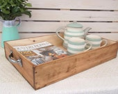 Large wooden wine box tray -breakfast-wine crate-tea-housewarming present-vintage-wine lover gift-hygge- farmhouse style - rustic kitchen
