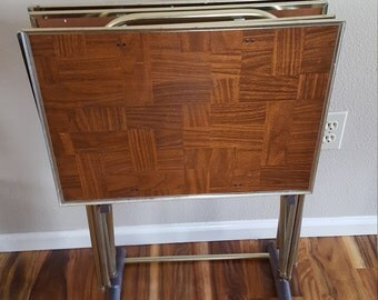 Vintage Folding T.V. Tray With Stand Wood  Folding Mertal TV Tray
