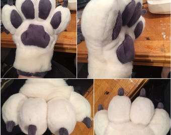 Toony puffy four finger animal hand paws for fursuit, mascot, animal costumes