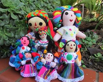 Mexican Rag Dolls Maria Dolls Cloth Dolls Handmade Set of 7 Dolls