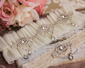 Ivory Tulle Wedding Garter Set, Ivory Bridal Garter Set, Ivory Tulle Garter, Silver Wedding Garter, Ivory Garter Set, Rhinestone Garter Set