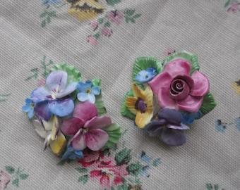 Pair of vintage Porcelain Flower Brooches , China Flower Brooch , Vintage Flower Brooches Crown Porcelain Flower Brooch
