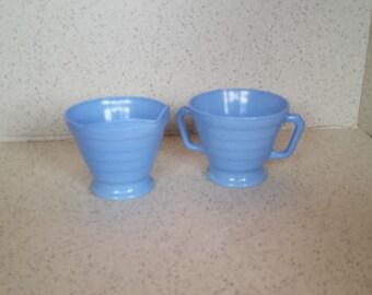 Hazel Atlas Platonite Blue Cream and Sugar Moderntone
