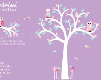 Owl Decal, Girl Owl Nursery Wall Decal, Small Owl Tree Decal, Nursery Wall Decal, Wonderland Collection, Berry Pastel Design