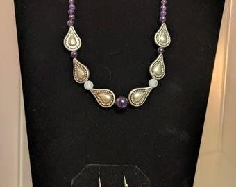Antiqued Silver Teardrop Necklace Set w/ Aubergine Accents