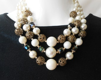 Pearl Necklace, 1950's Bead Necklace, Made in Japan, Pearl Glass Beads, Triple Strand Beads, Costume Jewelry, Glamorous Necklace
