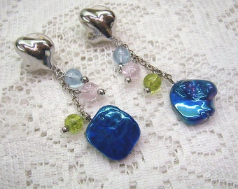 Vintage FAC Fused Glass Dangle Earrings...Three Crystal Dangles...Iridescent Blue Post Back Earrings