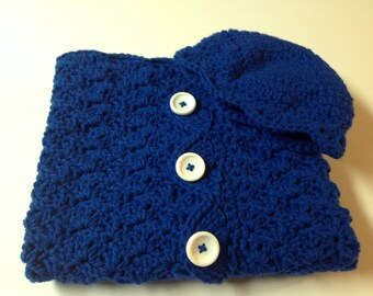 Blue Baby Cacoon w/ Hat Crochet Baby Bunting w/ Hat