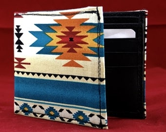 Handmade leather wallet handcrafted with blue native american OJOS DE DIOS print