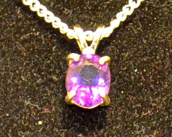 Amethyst Pendant/Necklace, 9x7mm Oval, Natural, Set in Sterling Silver P644
