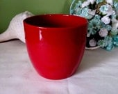 Vintage Red Porcelain Planter, Flower pot, Made in Germany, 1980s, 5 inches wide x 4-3/4 inches long, Flower pot, flower planter