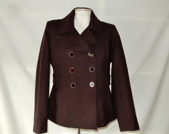 Sz S 4 Pea Coat Jacket Double Breasted - Brown Lambswool Blend - Winter Peacoat