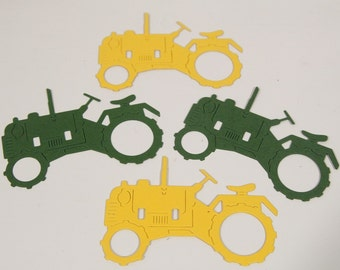 Tractor Die Cuts, Tractor Birthday Party Confetti,  Farm Party Decorations, Classroom Activites Scrapbook DIY Vehicle Shapes Cupcake Toppers
