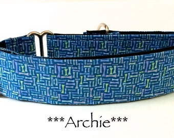 Martingale Dog Collar, Dog Collar, Purple Dog Collar, Buckle Dog Collar, Blue Dog Collar, Geometric, Archie