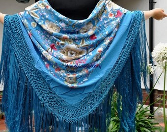 Hand embroidered spanish flamenco silk piano shawl, mantones, evening wrap