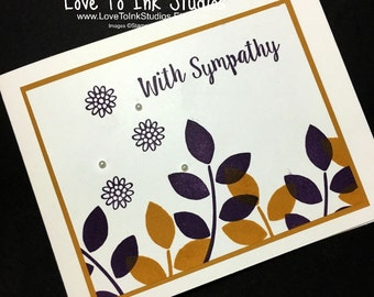 With Sympathy Card, Condolence Card, Sympathy Card, Purple and Mustard Leaves and Flowers