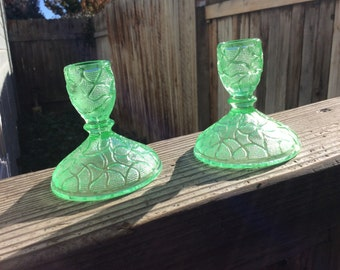 Beautiful Green Depression Glass Candlestick Holders,  Vintage Entertaining