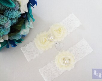Personalised Elegant Vintage Wedding Bridal Garter set Ivory Stretch Lace with Pearl and Rhinestone