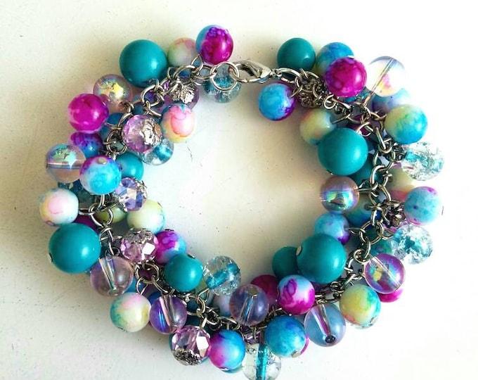 Small Pink Blue Clear Opec Beaded Cluster Lobster Hook Bracelet