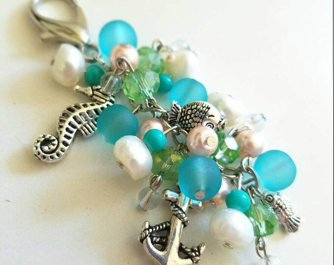 Nautical Blue Green White Salmon Teal Pearl Seahorse Anchor Fish Beaded Lobster Hook Keychain