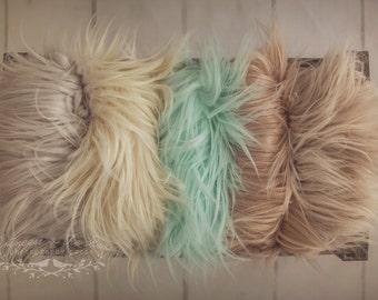 Faux Mongolian Fur, Newborn Photo Prop, Faux Fur Photography Prop, Baby Fake Fur, Photo Prop, Mongolian Fur Blanket, Mint Grey Ivory Beige
