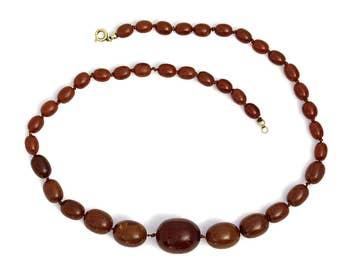 Bakelite Necklace Antique Jewelry Art Deco Brown