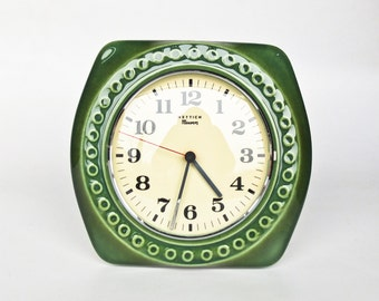 Ceramic Wall Clock by Hettic / 70's Germany / Green